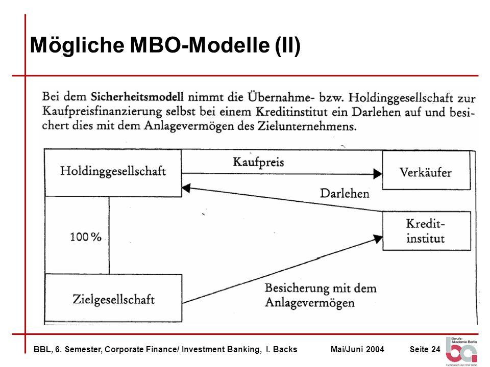 Mögliche MBO-Modelle (II)