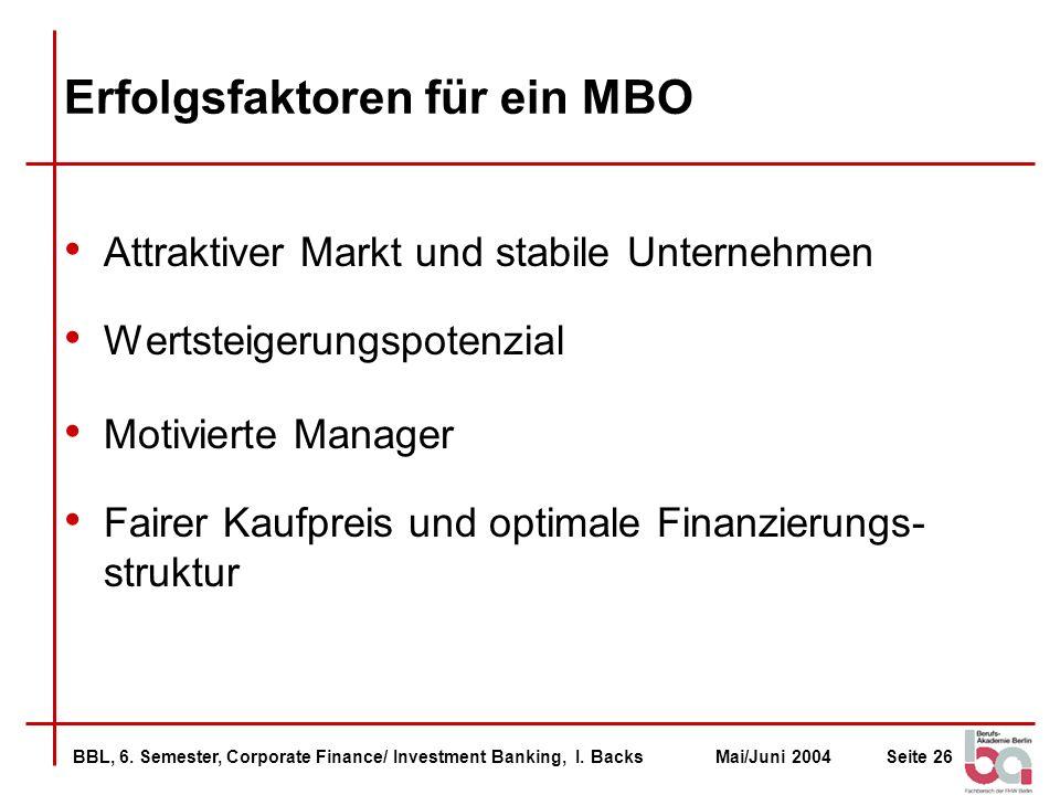 Erfolgsfaktoren für ein MBO
