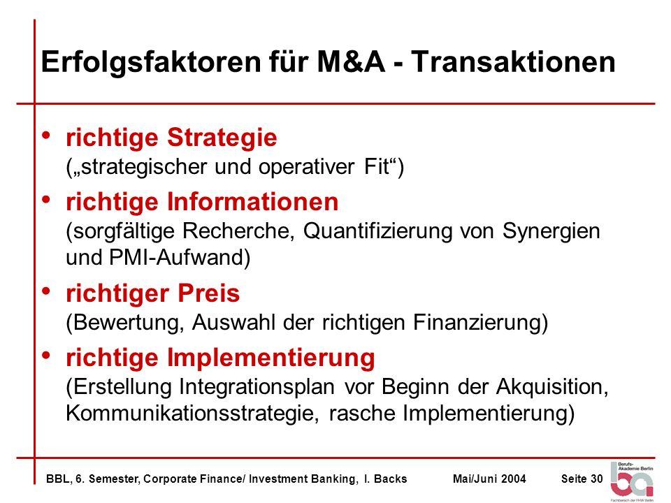 Erfolgsfaktoren für M&A - Transaktionen