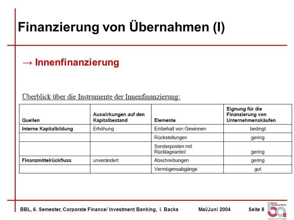 Finanzierung von Übernahmen (I)