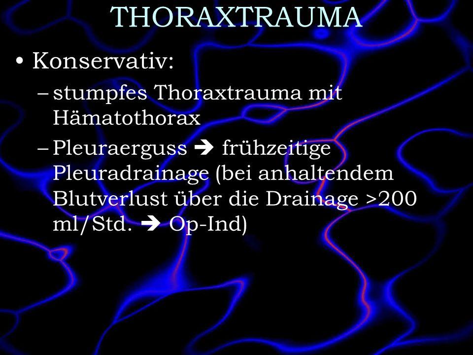 THORAXTRAUMA Konservativ: stumpfes Thoraxtrauma mit Hämatothorax