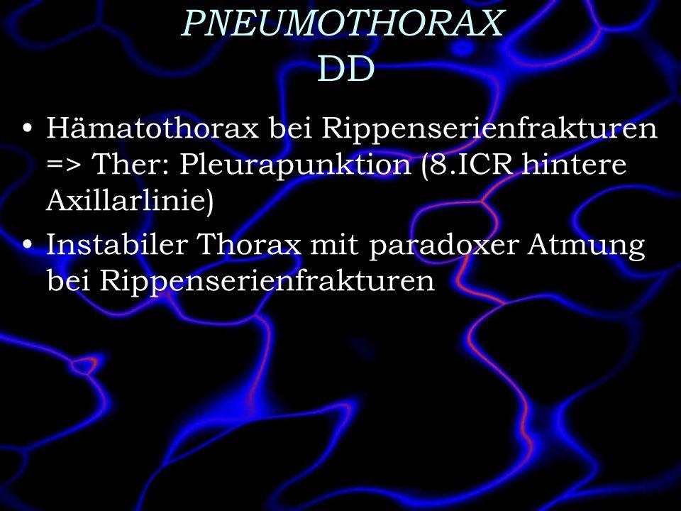 PNEUMOTHORAX DD Hämatothorax bei Rippenserienfrakturen => Ther: Pleurapunktion (8.ICR hintere Axillarlinie)