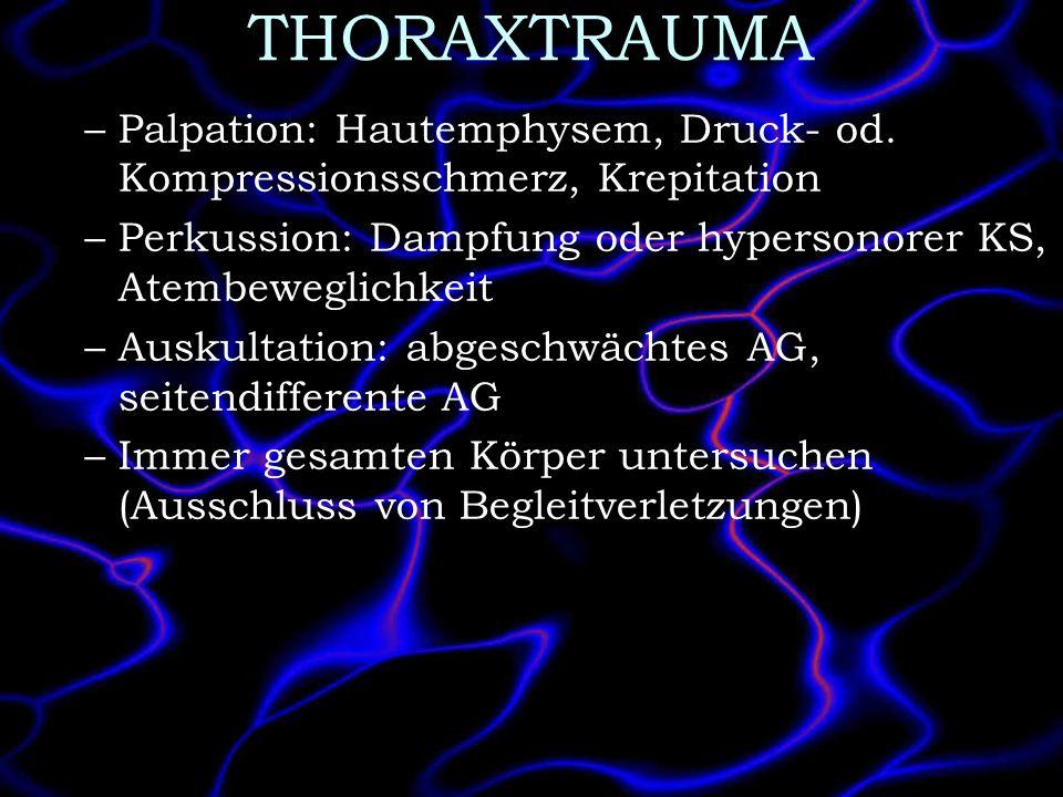 THORAXTRAUMA Palpation: Hautemphysem, Druck- od. Kompressionsschmerz, Krepitation. Perkussion: Dampfung oder hypersonorer KS, Atembeweglichkeit.
