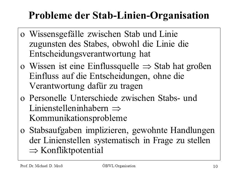Probleme der Stab-Linien-Organisation