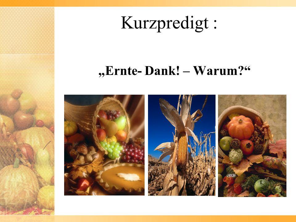 """Kurzpredigt : """"Ernte- Dank! – Warum"""