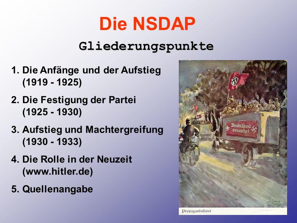 Die NSDAP Gliederungspunkte Die Anfänge und der Aufstieg (1919 - 1925)