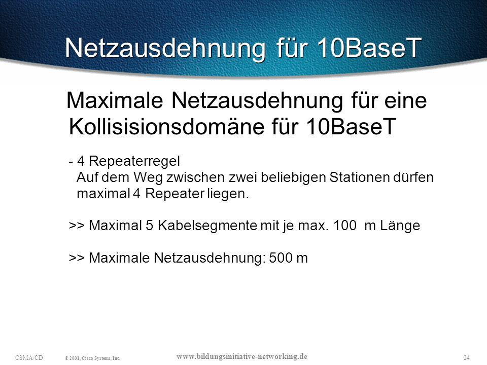 Netzausdehnung für 10BaseT