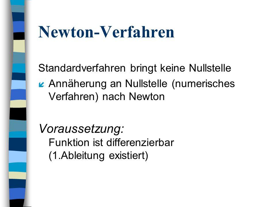 Newton-VerfahrenStandardverfahren bringt keine Nullstelle. Annäherung an Nullstelle (numerisches Verfahren) nach Newton.