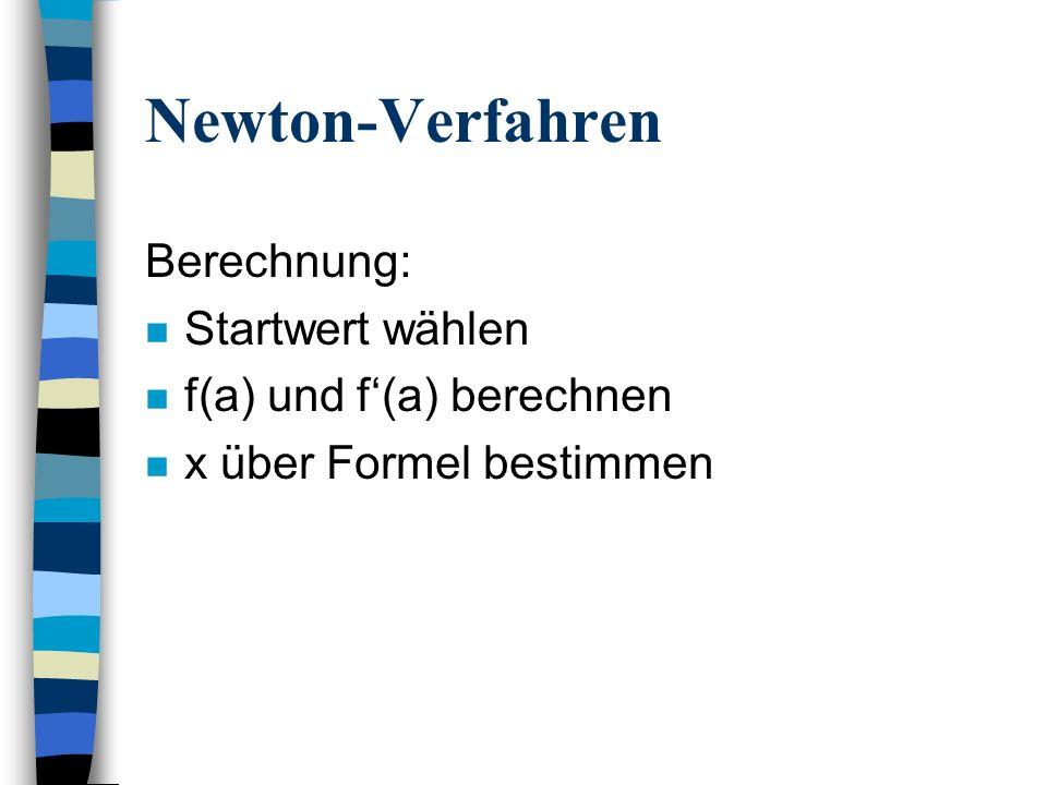 Newton-Verfahren Berechnung: Startwert wählen f(a) und f'(a) berechnen