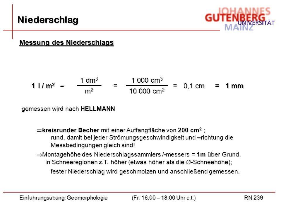 Niederschlag Messung des Niederschlags 1 dm3 m2 1 000 cm3 10 000 cm2 1