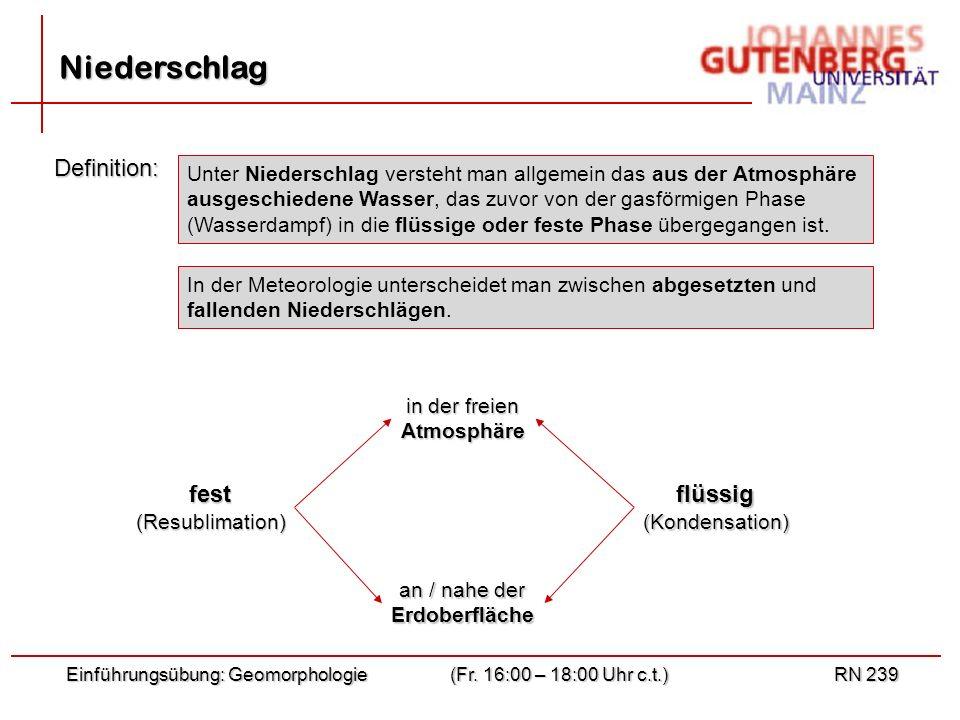 Niederschlag Definition: fest flüssig