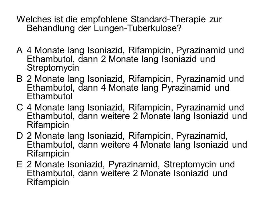 Welches ist die empfohlene Standard-Therapie zur Behandlung der Lungen-Tuberkulose