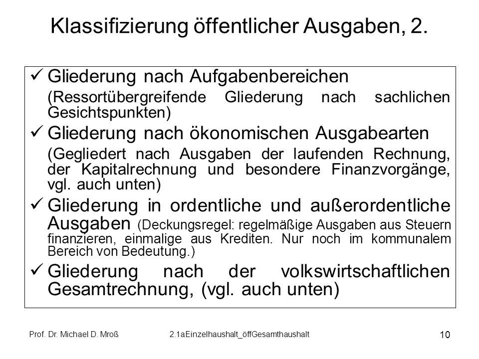 Klassifizierung öffentlicher Ausgaben, 2.