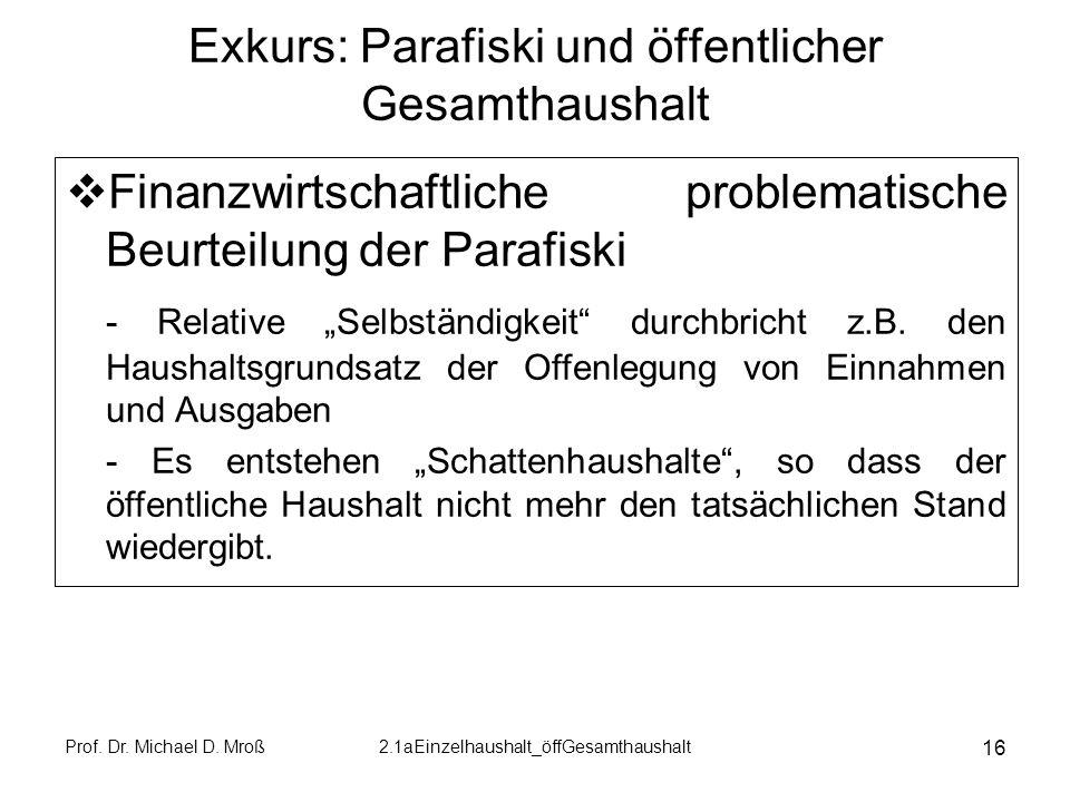 Exkurs: Parafiski und öffentlicher Gesamthaushalt