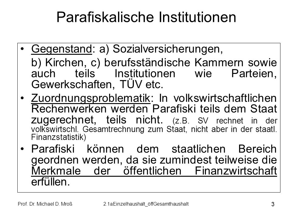 Parafiskalische Institutionen
