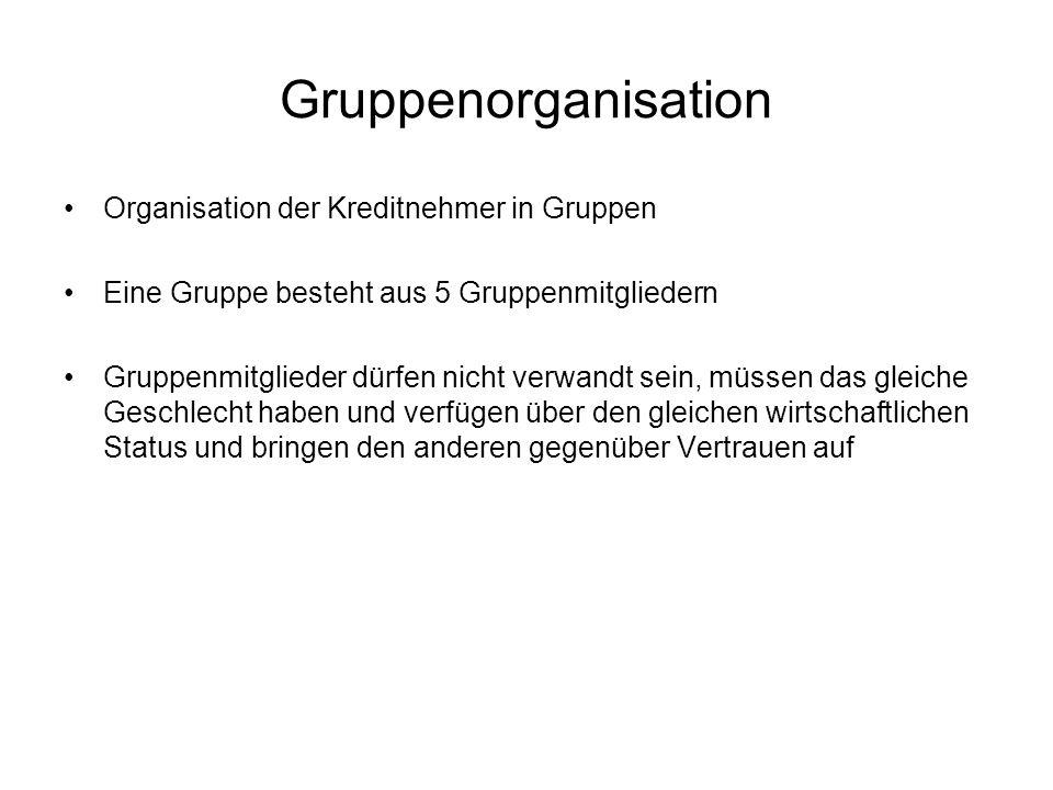 Gruppenorganisation Organisation der Kreditnehmer in Gruppen