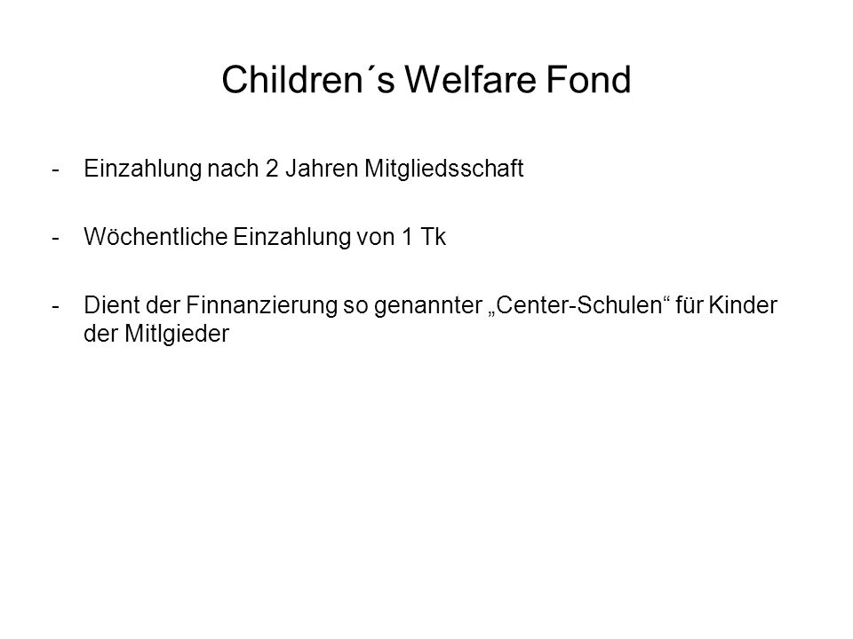 Children´s Welfare Fond