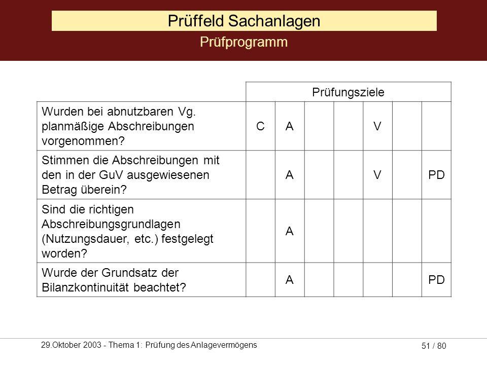 Prüffeld Sachanlagen Prüfprogramm Prüfungsziele