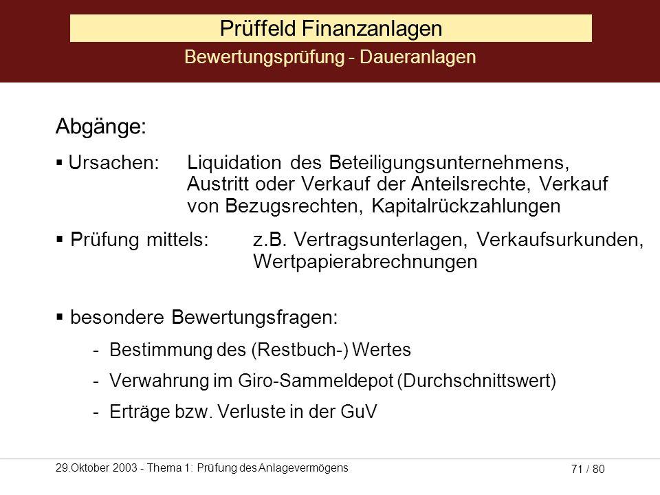 Prüffeld Finanzanlagen