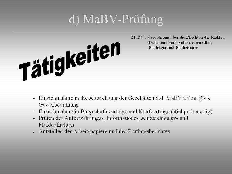 d) MaBV-Prüfung Tätigkeiten