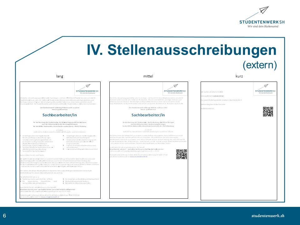 IV. Stellenausschreibungen (extern)