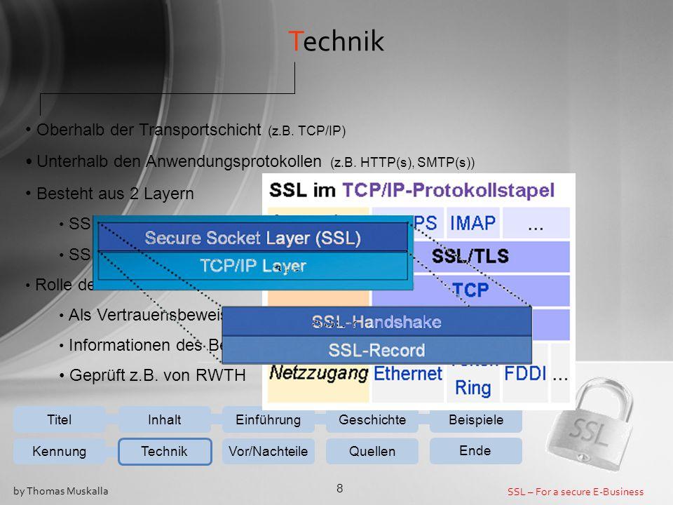 Technik Oberhalb der Transportschicht (z.B. TCP/IP)