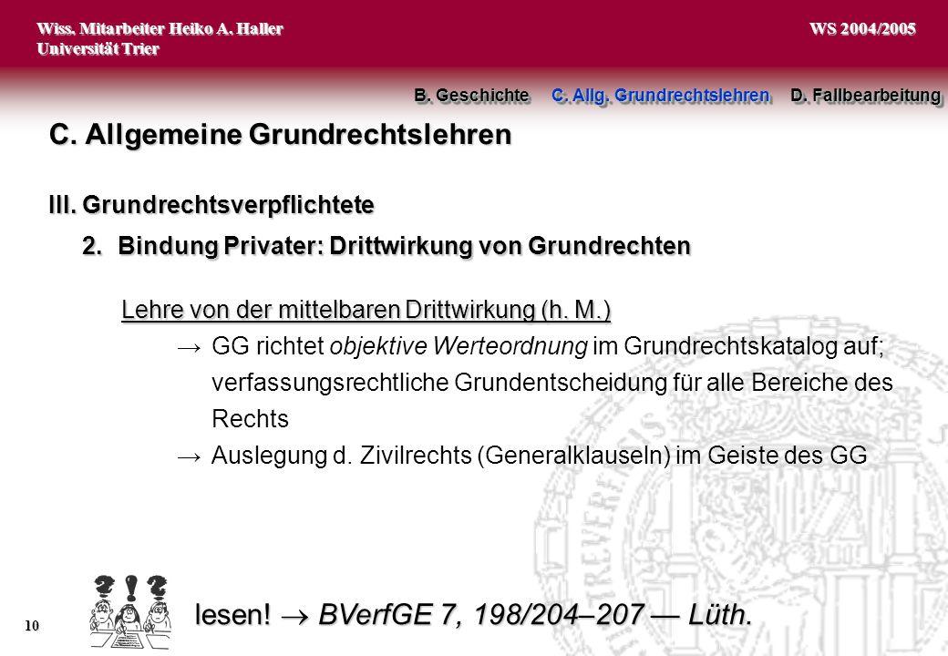 lesen!  BVerfGE 7, 198/204–207 — Lüth.