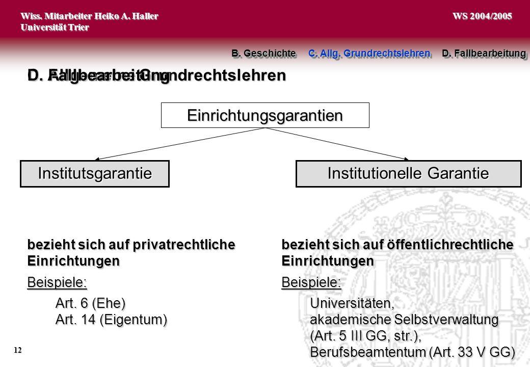 C. Allgemeine Grundrechtslehren D. Fallbearbeitung