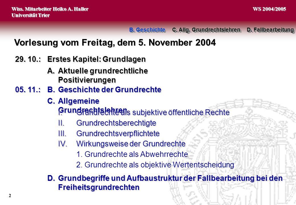Vorlesung vom Freitag, dem 5. November 2004