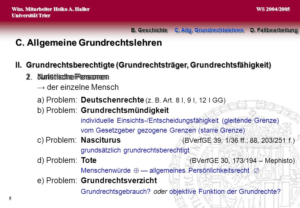 C. Allgemeine Grundrechtslehren