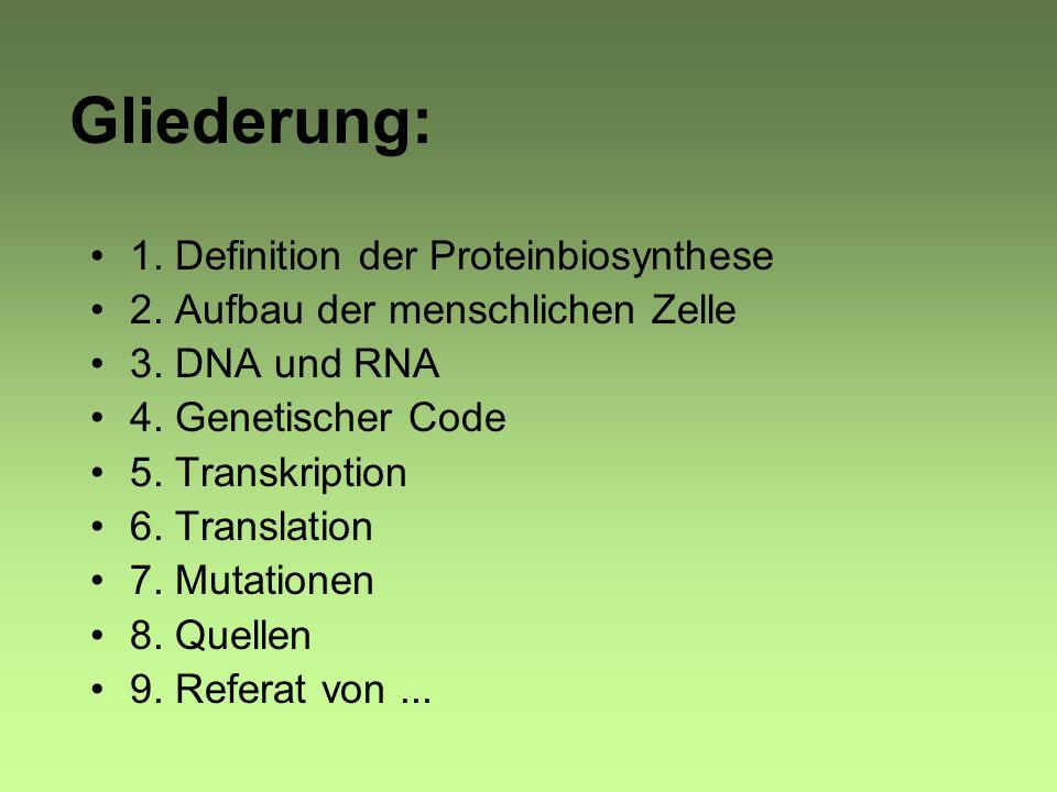 Gliederung: 1. Definition der Proteinbiosynthese