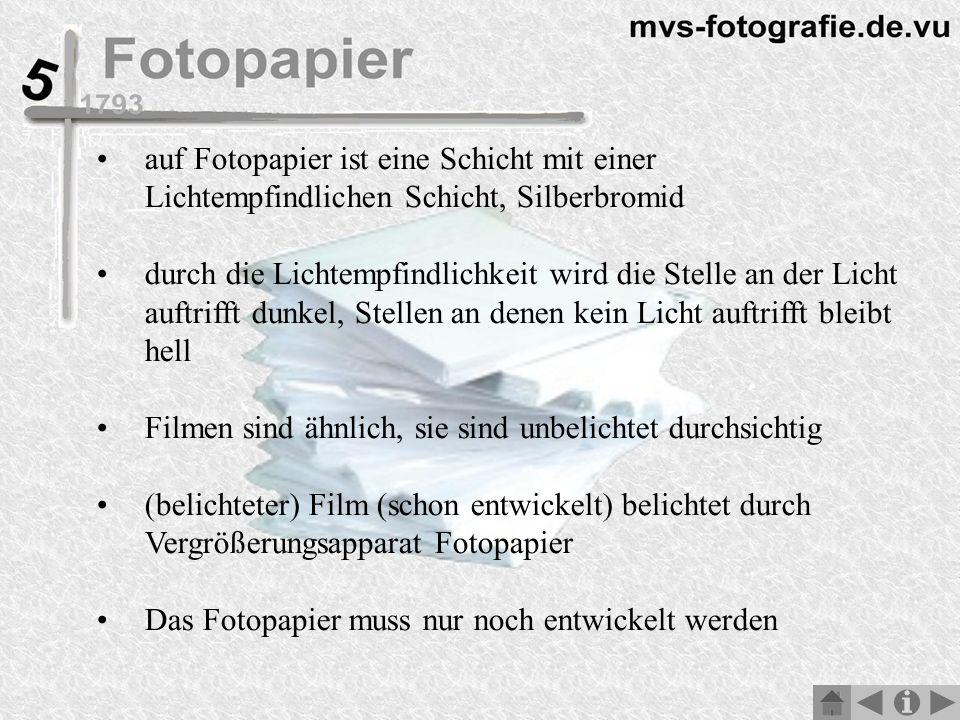 auf Fotopapier ist eine Schicht mit einer Lichtempfindlichen Schicht, Silberbromid