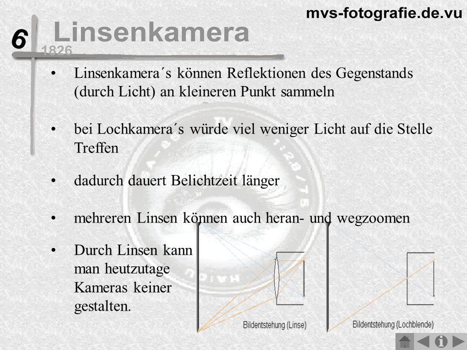 Linsenkamera´s können Reflektionen des Gegenstands (durch Licht) an kleineren Punkt sammeln