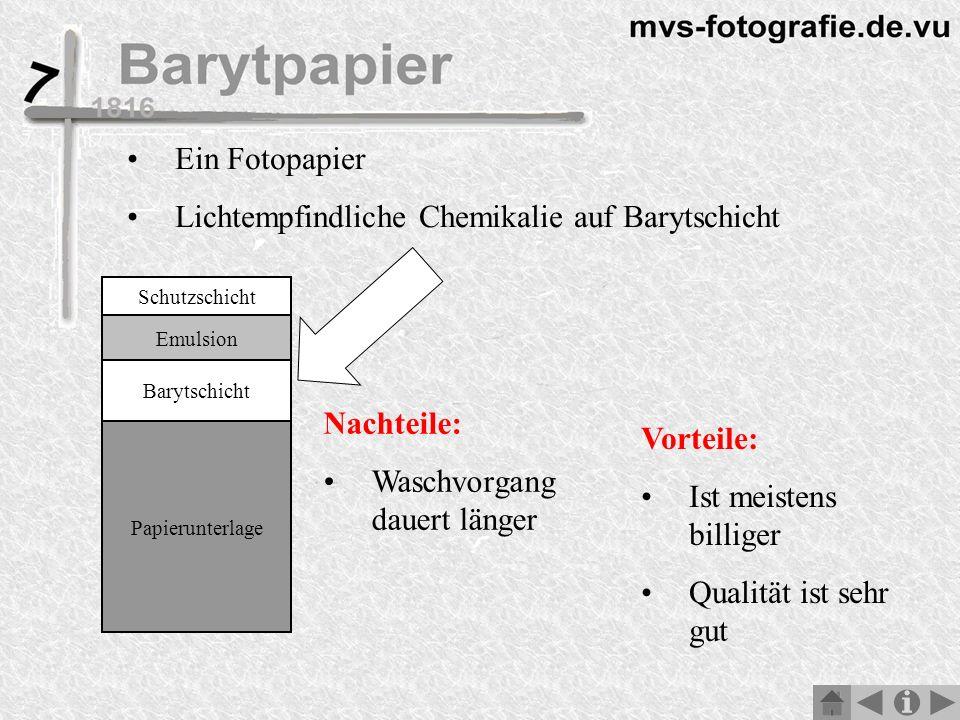 Lichtempfindliche Chemikalie auf Barytschicht