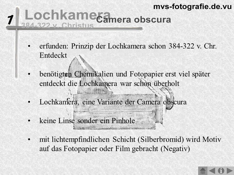 erfunden: Prinzip der Lochkamera schon 384-322 v. Chr. Entdeckt