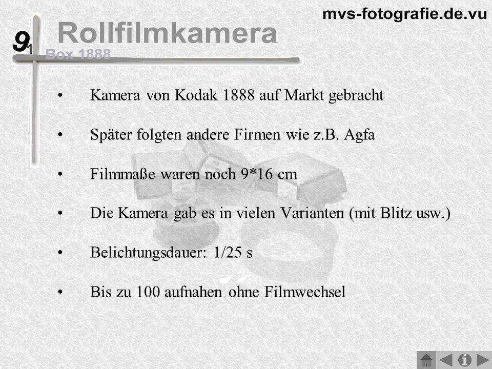 Kamera von Kodak 1888 auf Markt gebracht