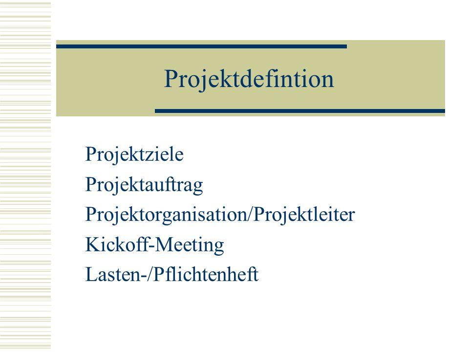 Projektdefintion Projektziele Projektauftrag