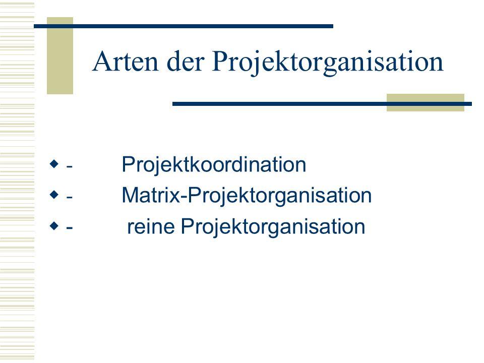 Arten der Projektorganisation