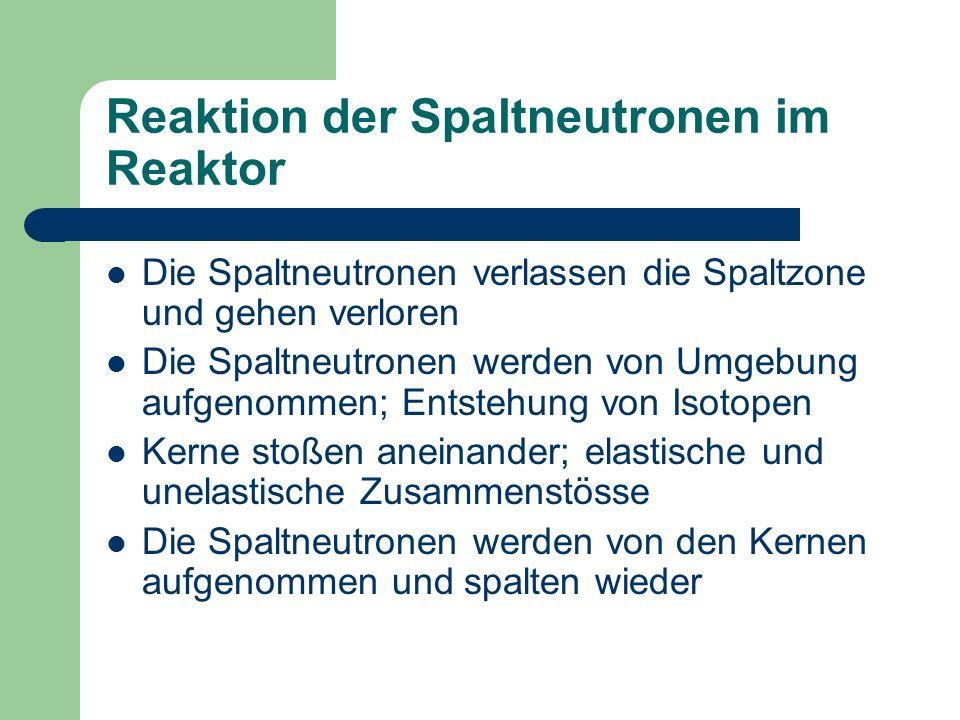Reaktion der Spaltneutronen im Reaktor