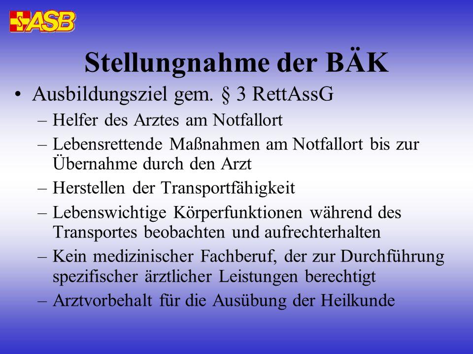 Stellungnahme der BÄK Ausbildungsziel gem. § 3 RettAssG