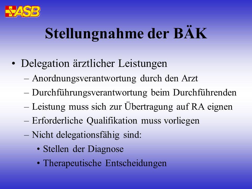 Stellungnahme der BÄK Delegation ärztlicher Leistungen