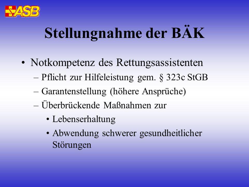 Stellungnahme der BÄK Notkompetenz des Rettungsassistenten