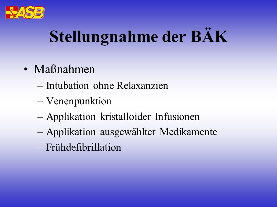 Stellungnahme der BÄK Maßnahmen Intubation ohne Relaxanzien
