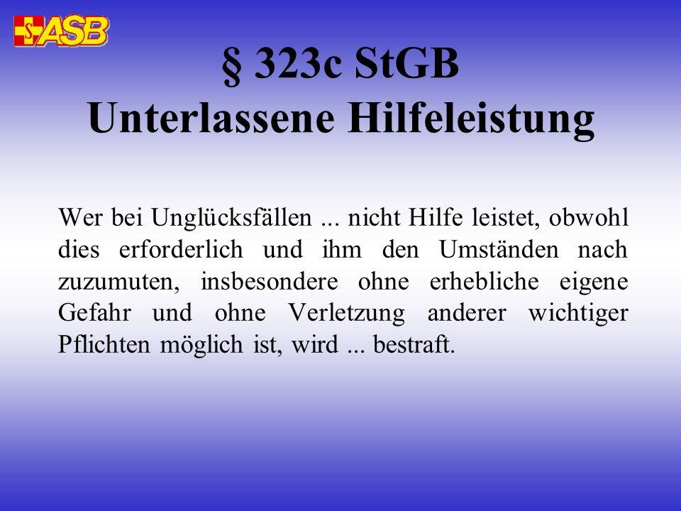 § 323c StGB Unterlassene Hilfeleistung