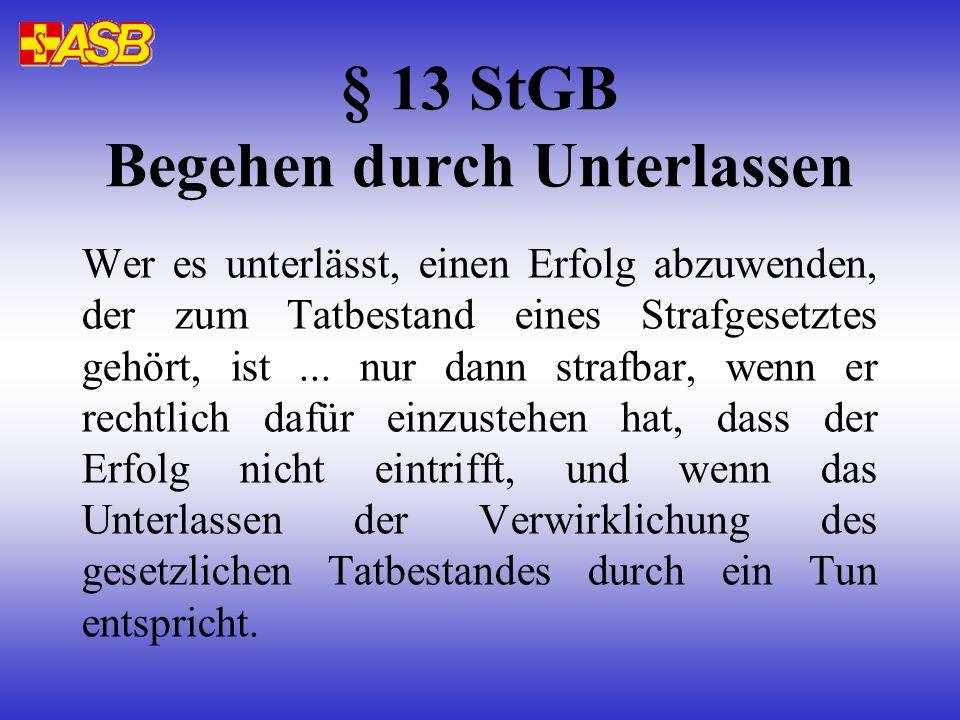 § 13 StGB Begehen durch Unterlassen