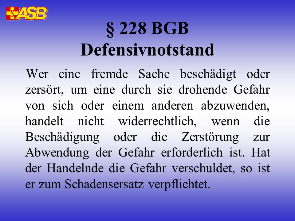 § 228 BGB Defensivnotstand