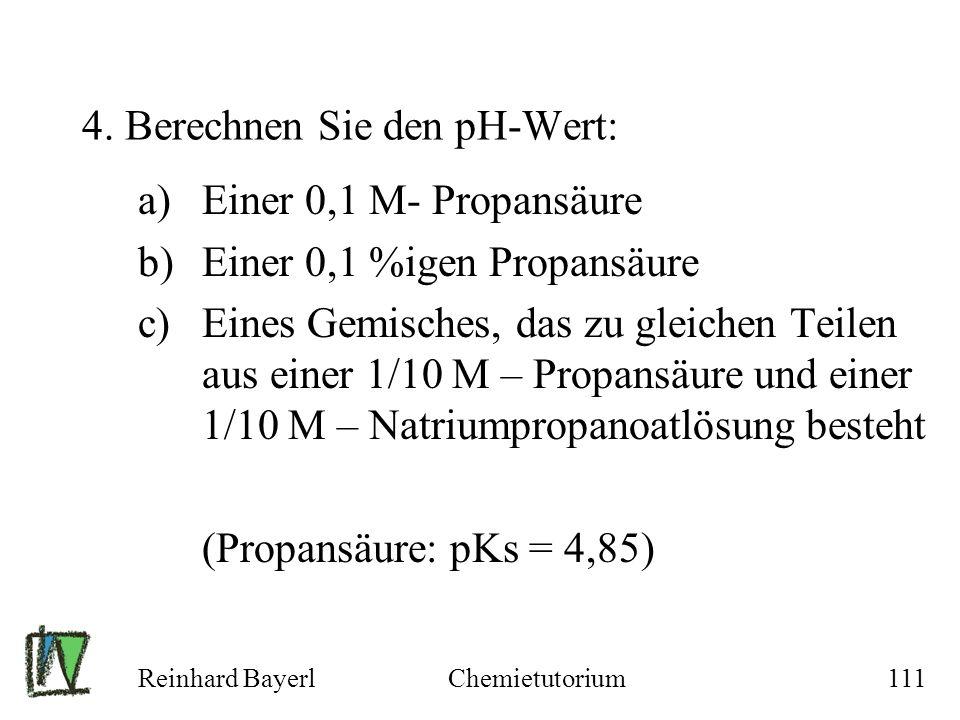 4. Berechnen Sie den pH-Wert: