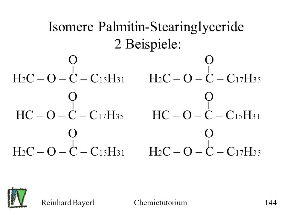 Isomere Palmitin-Stearinglyceride 2 Beispiele: