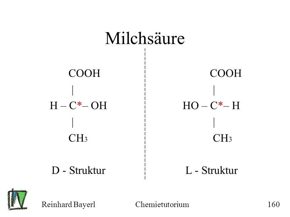 Milchsäure COOH | H – C*– OH CH3 D - Struktur HO – C*– H L - Struktur