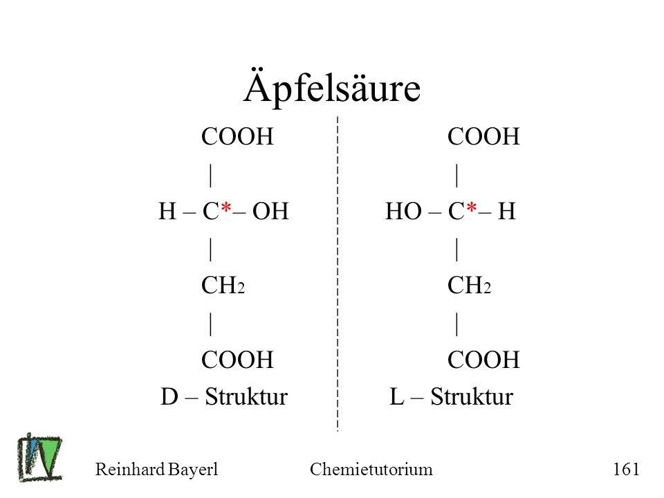 Äpfelsäure COOH | H – C*– OH CH2 D – Struktur HO – C*– H L – Struktur